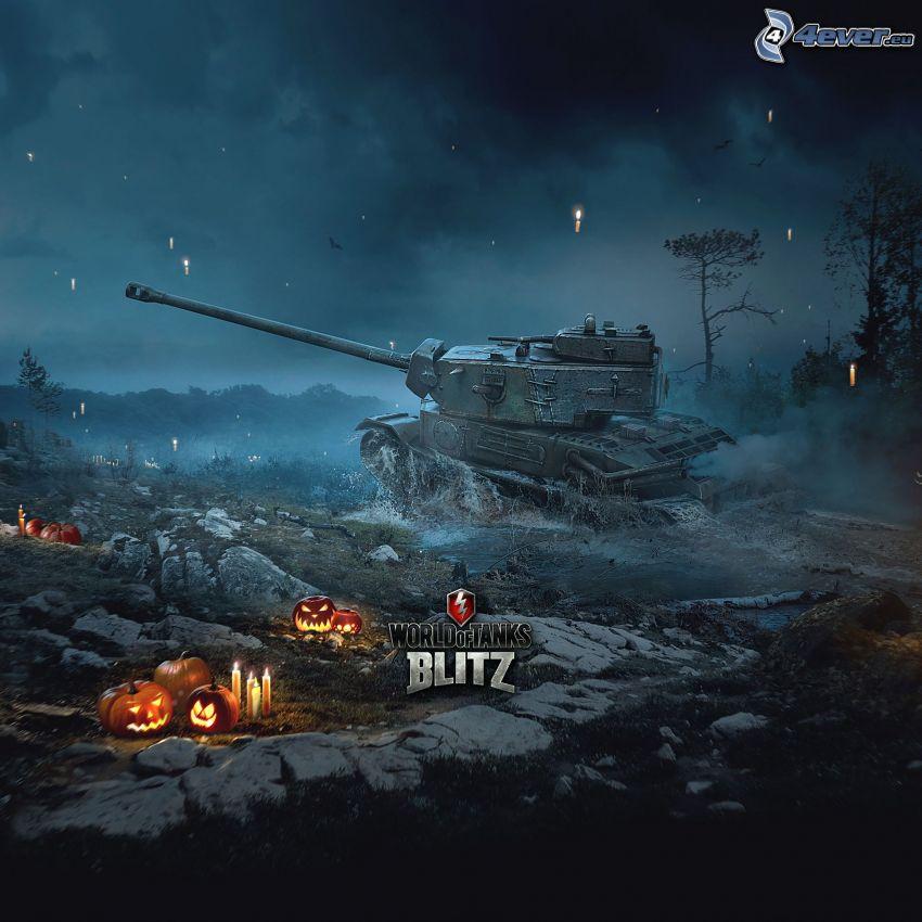 World of Tanks, tank, halloweenske tekvice, sviečky, nočný les