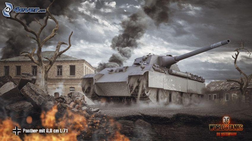 World of Tanks, tank, panther, budova, tmavé oblaky