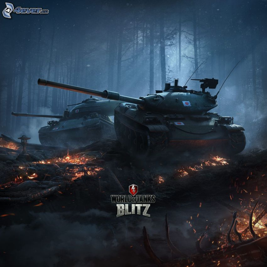 World of Tanks, tank, temný les, horiace drevo