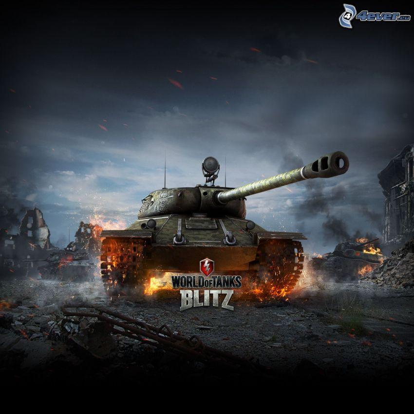 World of Tanks, tank, Tiger, zničené mesto
