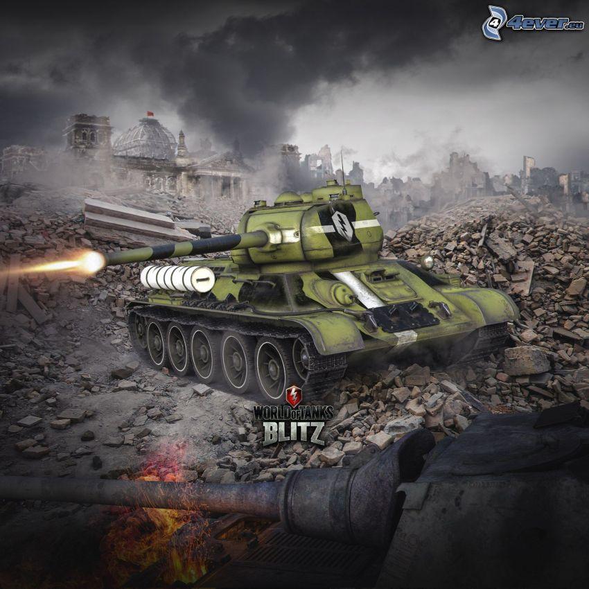 World of Tanks, tanky, streľba, zničené mesto
