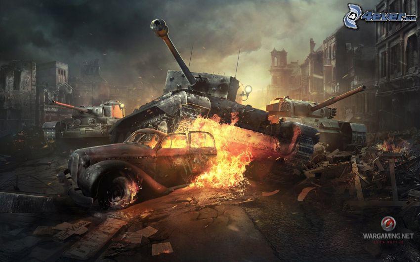 World of Tanks, tanky, zničené mesto