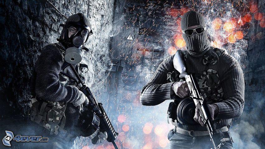 Battlefield 3, vojaci, človek v plynovej maske