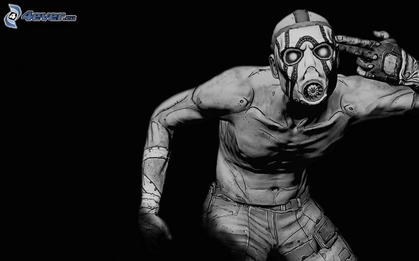 Borderlands, človek v plynovej maske