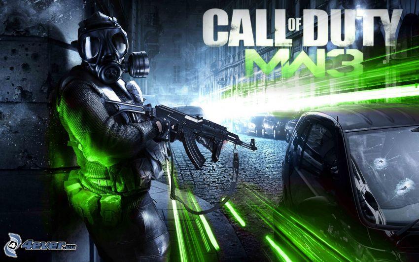 Call of Duty: Modern Warfare 3, človek v plynovej maske, nočné mesto