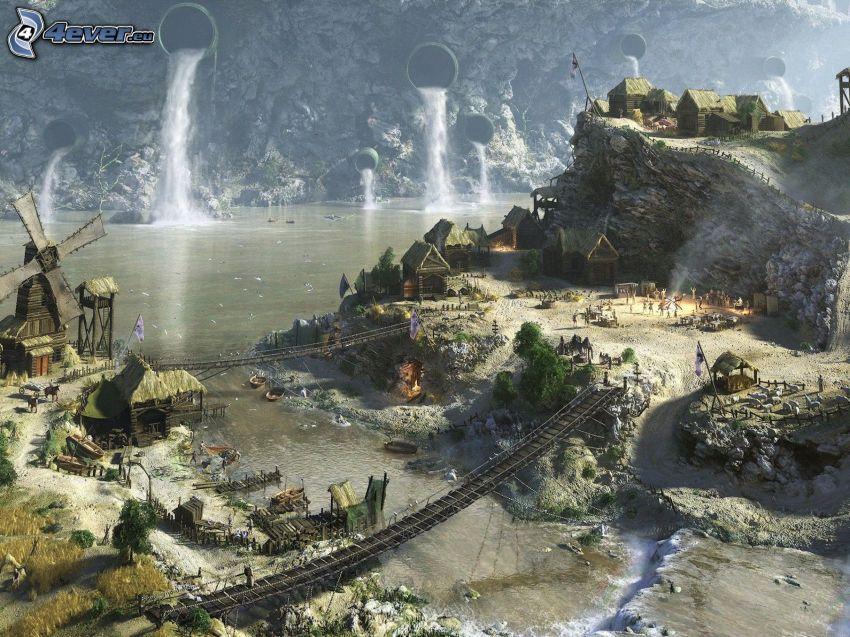 Civilization 5, kreslená krajina, mosty, skaly, vodopády, rieka