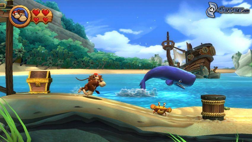 Donkey Kong Country Returns, opica, krab, veľryba