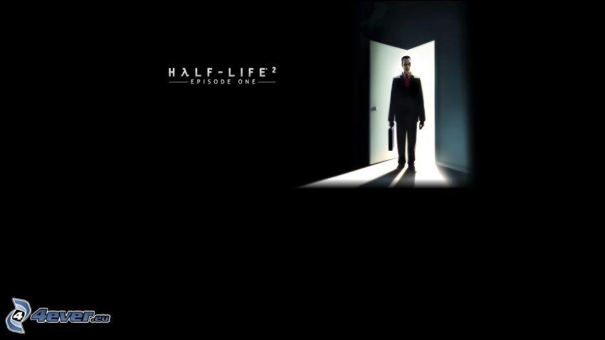Half Life 2, kreslený chlap, čierne pozadie, dvere