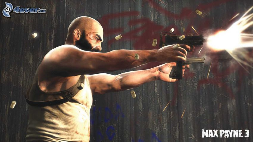 Max Payne 3, muž so zbraňou, výstrel, nábojnice