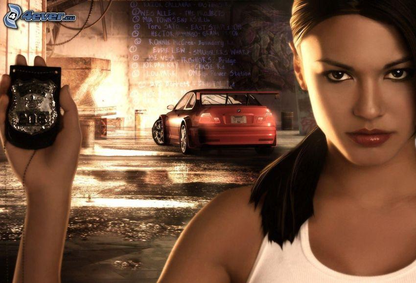 Need For Speed, brunetka, odznak, BMW
