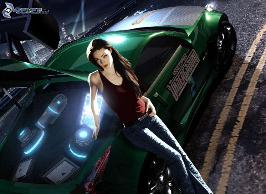 Need For Speed, štíhla sexi brunetka, športové auto