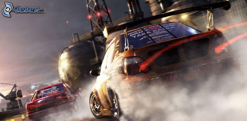 PC hra, autá, drift, dym