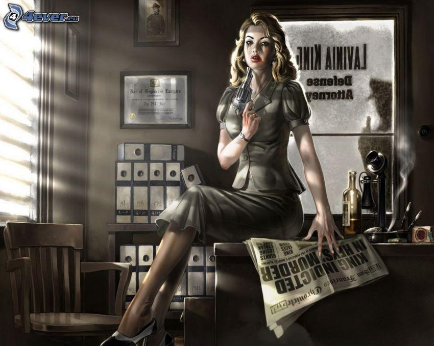 PC hra, žena so zbraňou