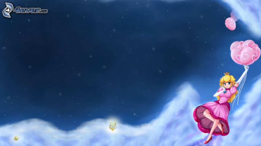 Princess Peach, kreslené dievča, balóny