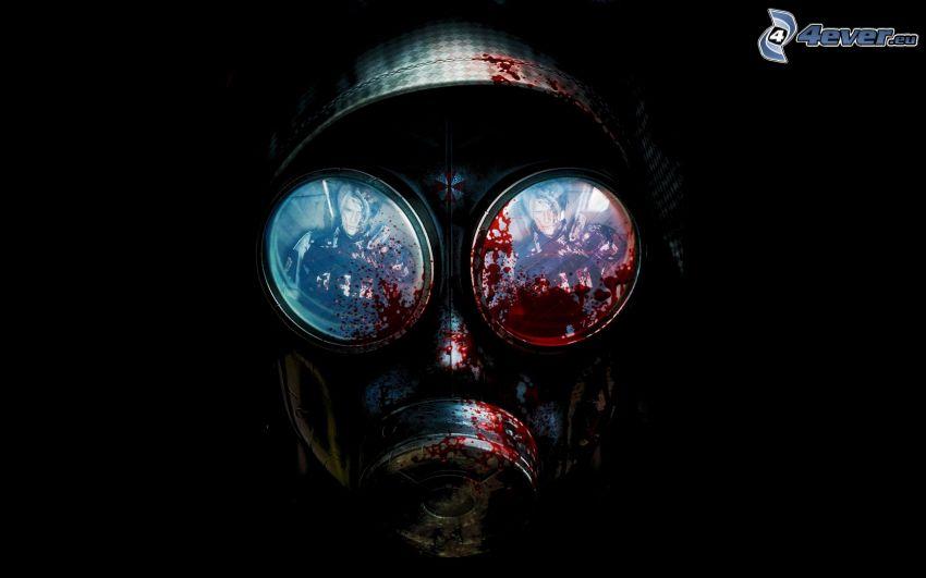 Resident Evil, plynová maska, krv