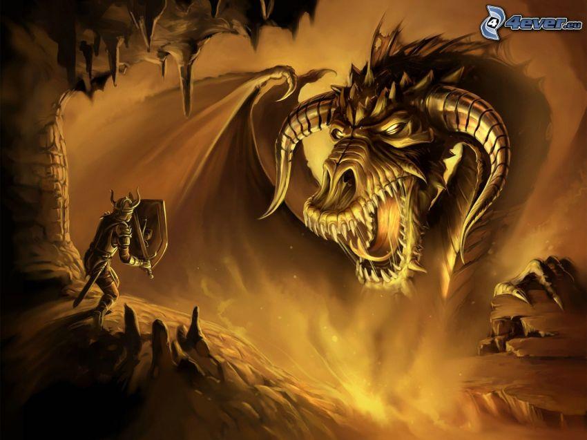rytier a drak, Neverwinter Nights, peklo, súboj, rohy
