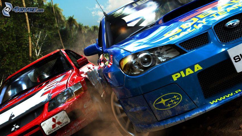 Sega Rally, preteky, Subaru, Mitsubishi