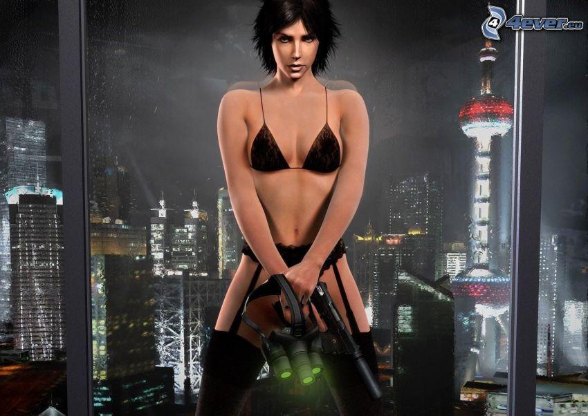 Splinter Cell: Blacklist, žena v spodnom prádle, žena so zbraňou