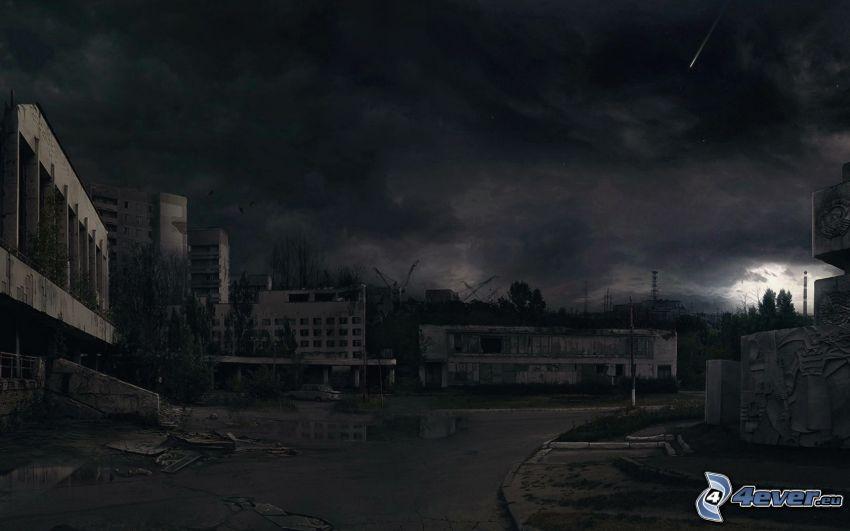 Stalker, večer, búrkové mraky