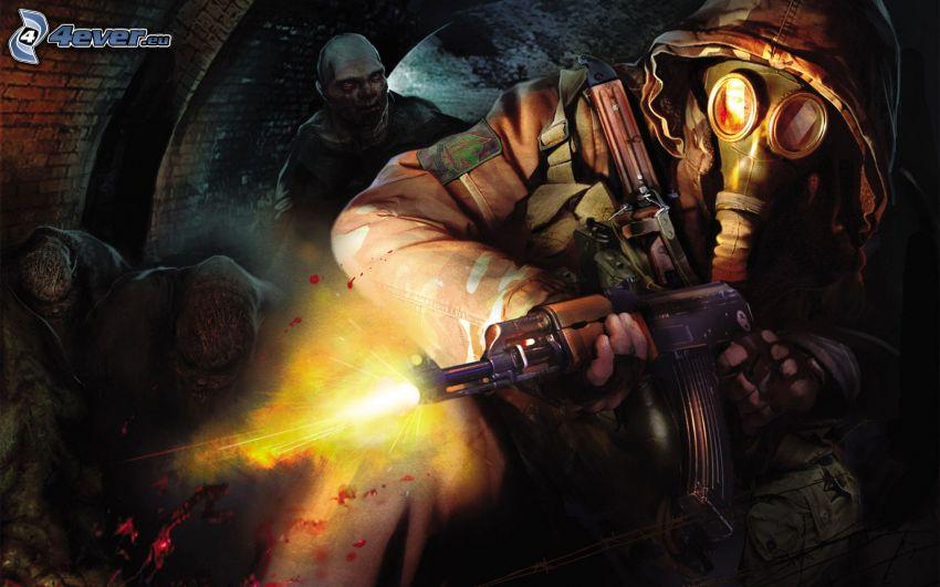 Stalker, vojak so zbraňou, človek v plynovej maske