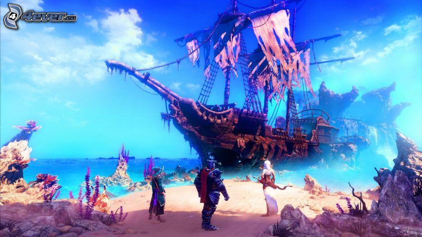 Trine, loď, piráti, more