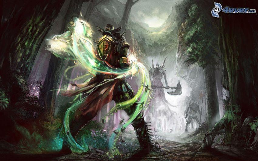 Warrior, kreslená postava, fantasy