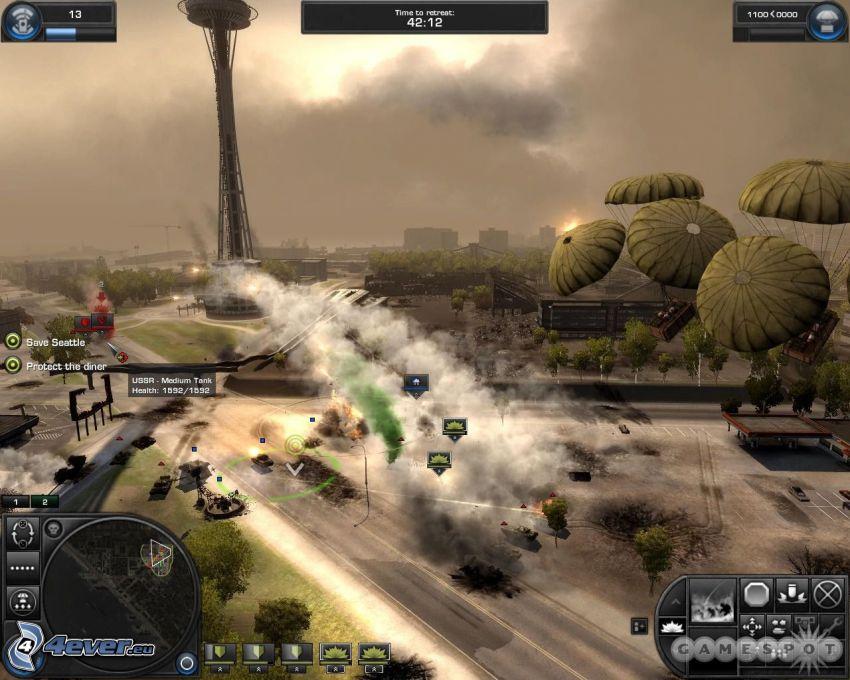 World in Conflict, streľba, výbuch, padák