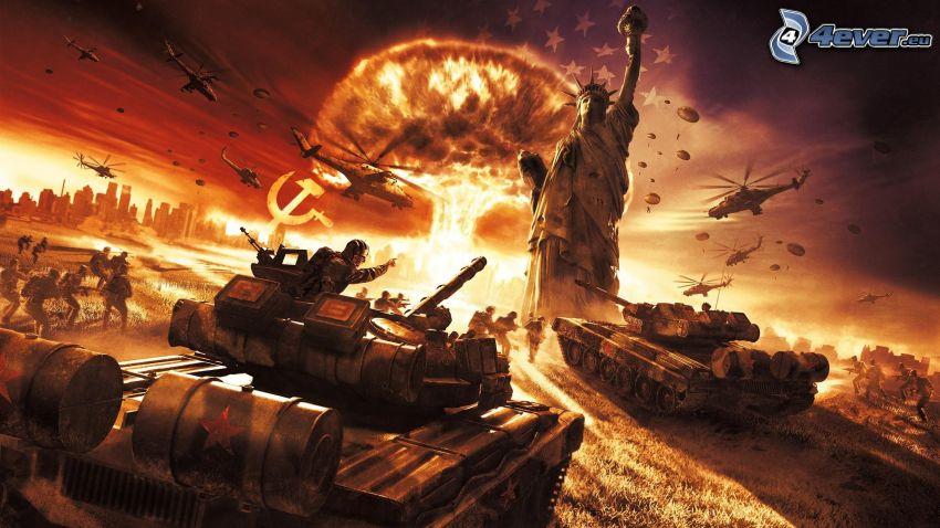 World in Conflict, tanky, Socha slobody, výbuch, vojenské vrtuľníky, vojaci