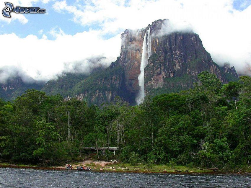 Angelov vodopád, les, rieka, oblaky, Venezuela