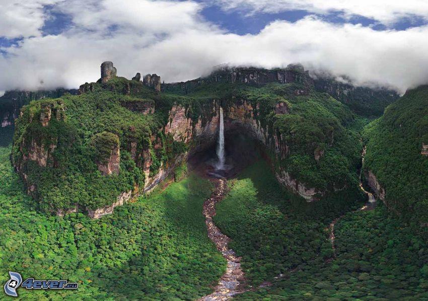 Angelov vodopád, útes, les, oblaky, Venezuela