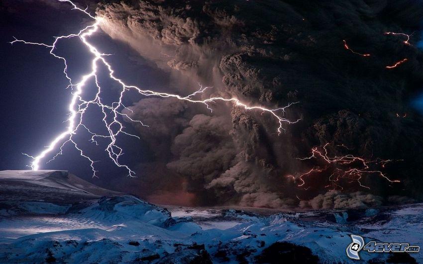 blesk, erupcia sopky, sopečný mrak