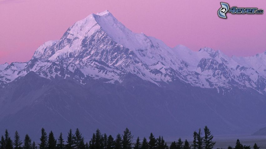Cookov vrch, zasnežená hora, ružová obloha