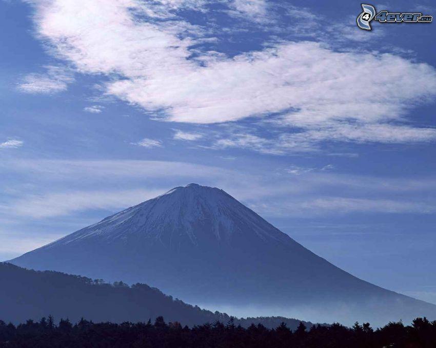 hora Fuji, Japonsko, oblaky