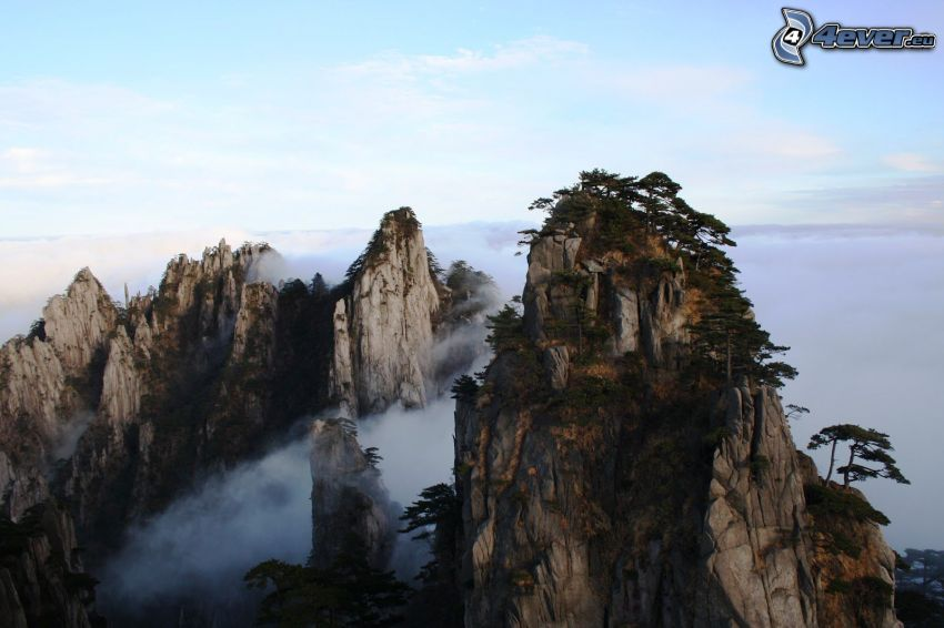 Huangshan, skalnaté hory, inverzia