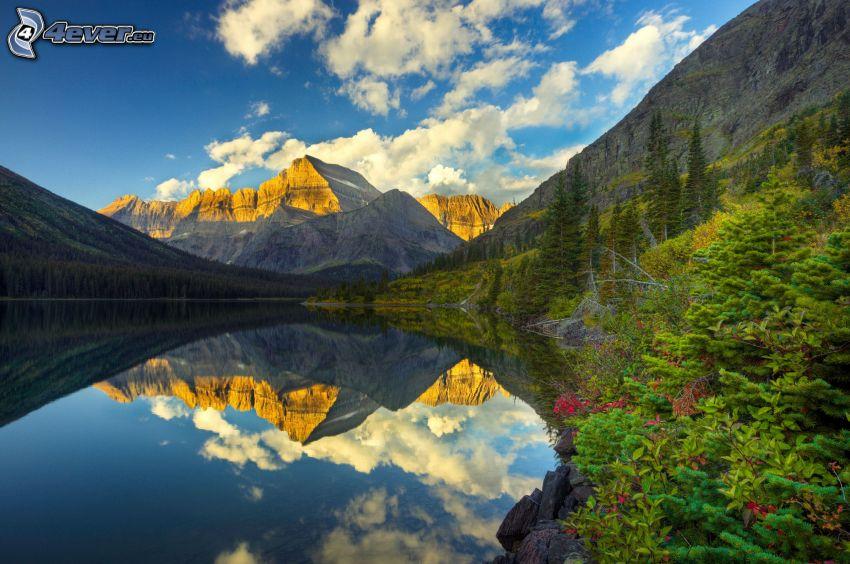 jazero, skalnaté hory, odraz