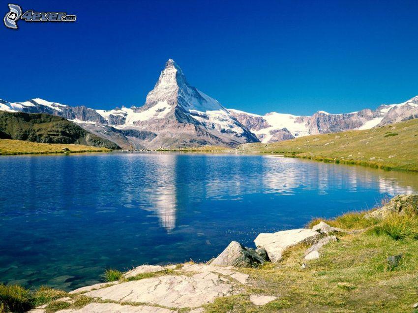 Matterhorn, Švajčiarsko, Alpy, jazero, pleso, pohorie