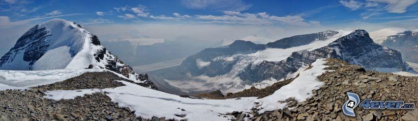 Mount Athabasca, skalnaté hory, sneh, panoráma
