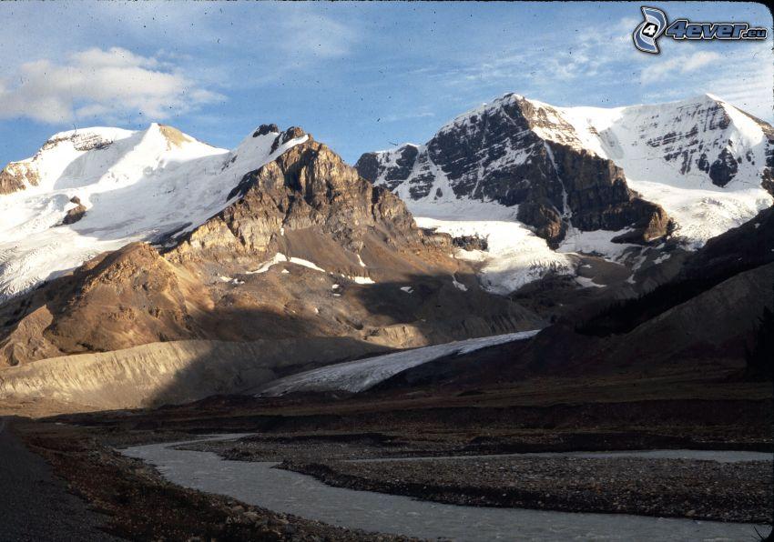 Mount Athabasca, skalnaté hory, stará fotografia