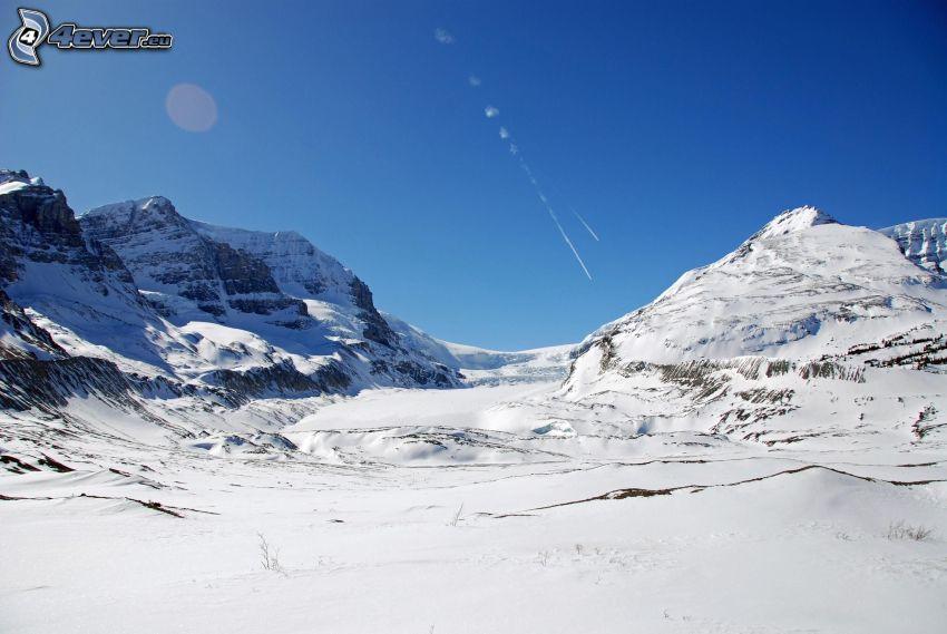 Mount Athabasca, zasnežené hory