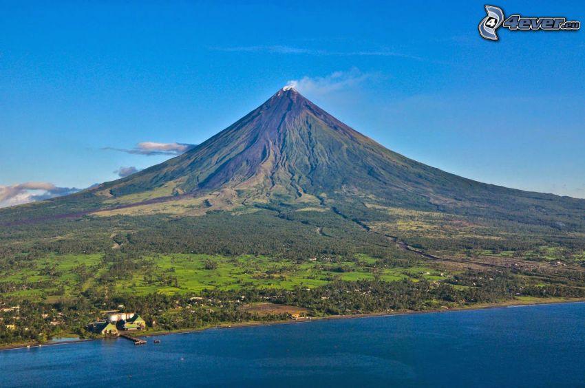 Mount Mayon, more, pobrežie, Filipíny