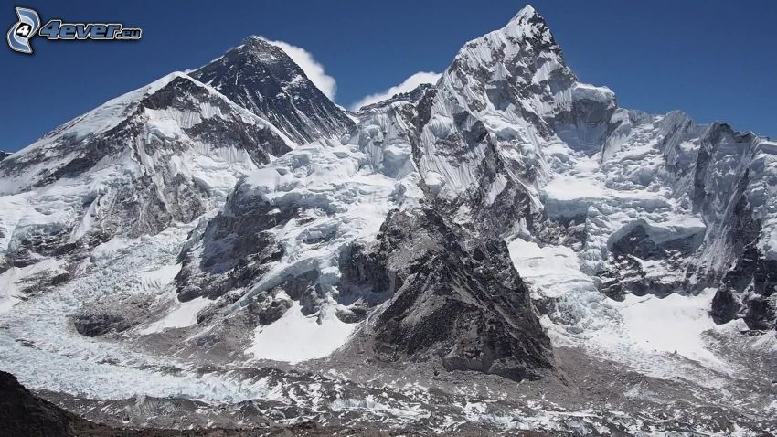 Mount Nuptse, zasnežená hora, Nepál