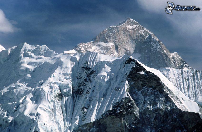 Mount Nuptse, zasnežené hory, Nepál