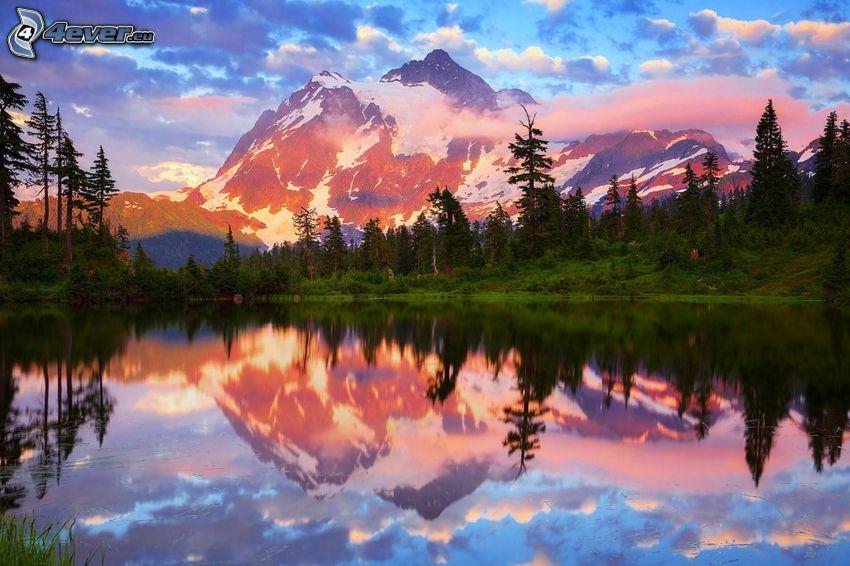 Mount Shuksan, skalnatá hora, jazero, odraz, les