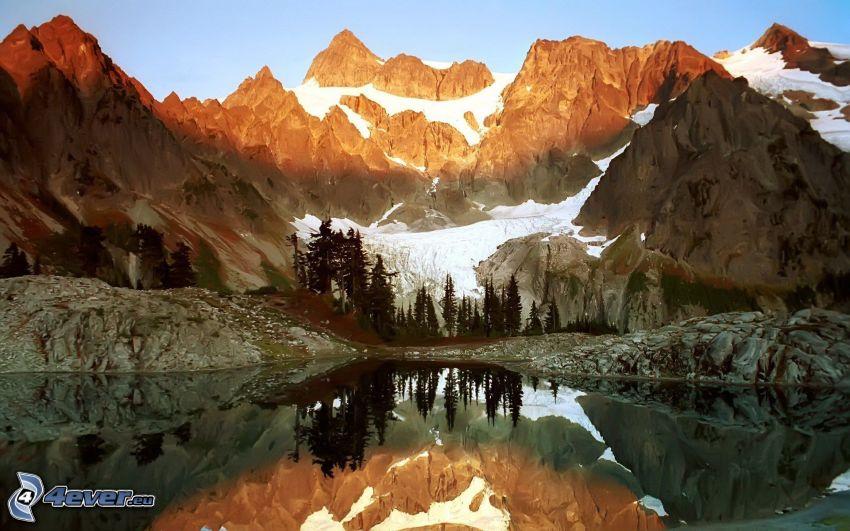 Mount Wilber, pleso, zasnežené hory