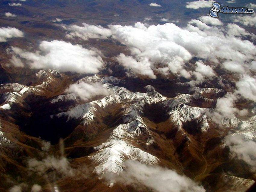 pohorie, Tibet, letecký pohľad, mraky