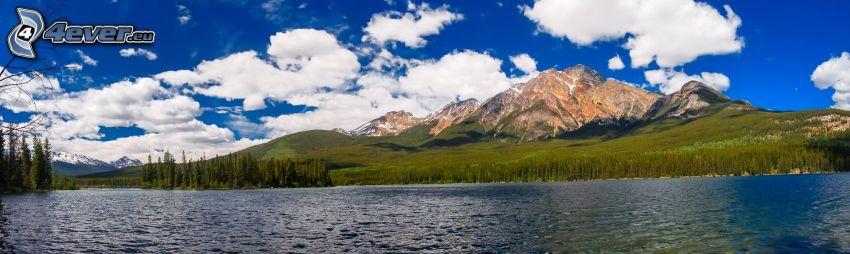 Pyramid Mountain, skalnatá hora, jazero, panoráma