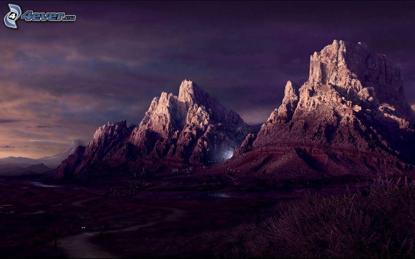 skalnaté hory, večer