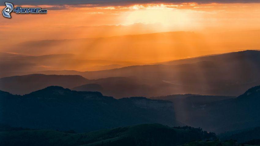 slnečné lúče, kopce