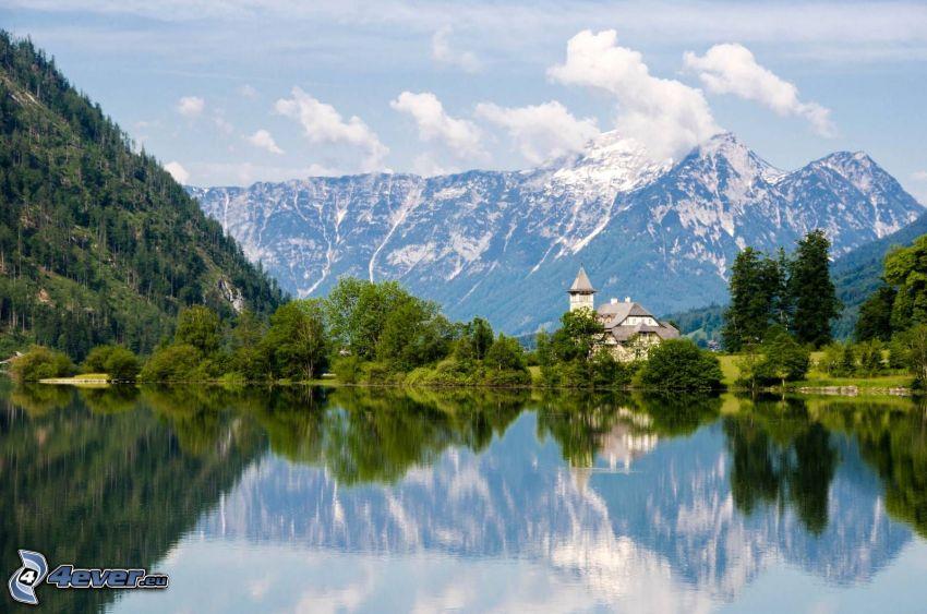 Totes Gebirge, skalnaté hory, kostol, jazero
