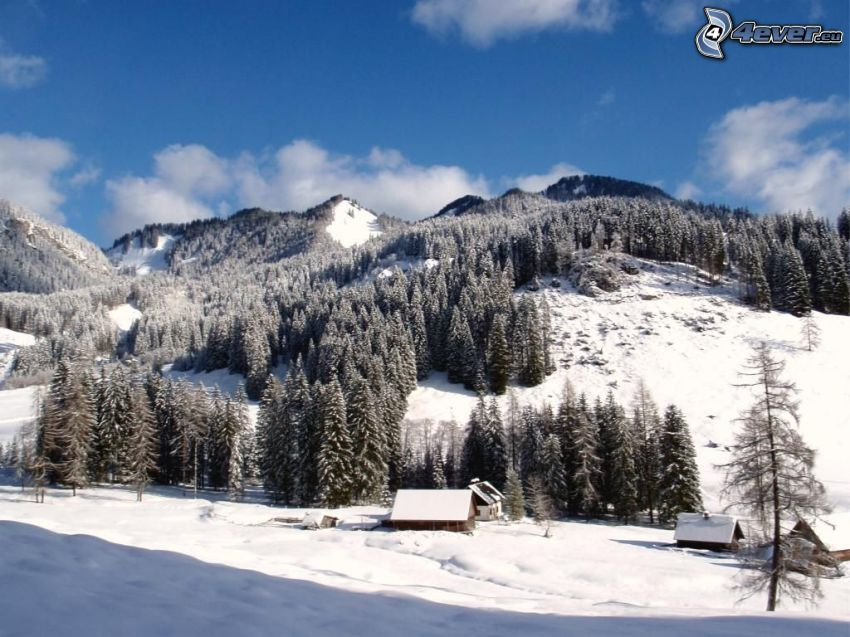 Totes Gebirge, zasnežená krajina, chalupy